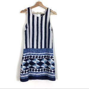 Lulu's Stripe Print Shift Dress Sleeveless Blue
